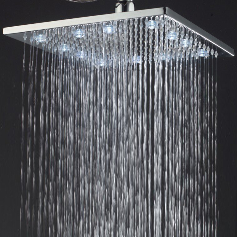 Bathroom Lighting Manufacturers: Manufacturer BAKALA Luxury led light 12 inch Brass Chrome square Bathroom  shower head WT-2226,Lighting