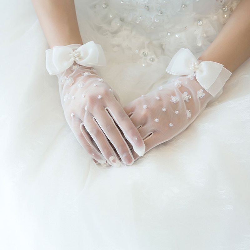 Wedding Dress Accessories Charm Bridal Gloves White Lace With Finger Long Glove Elegant Lady Bride Prom Jewelry