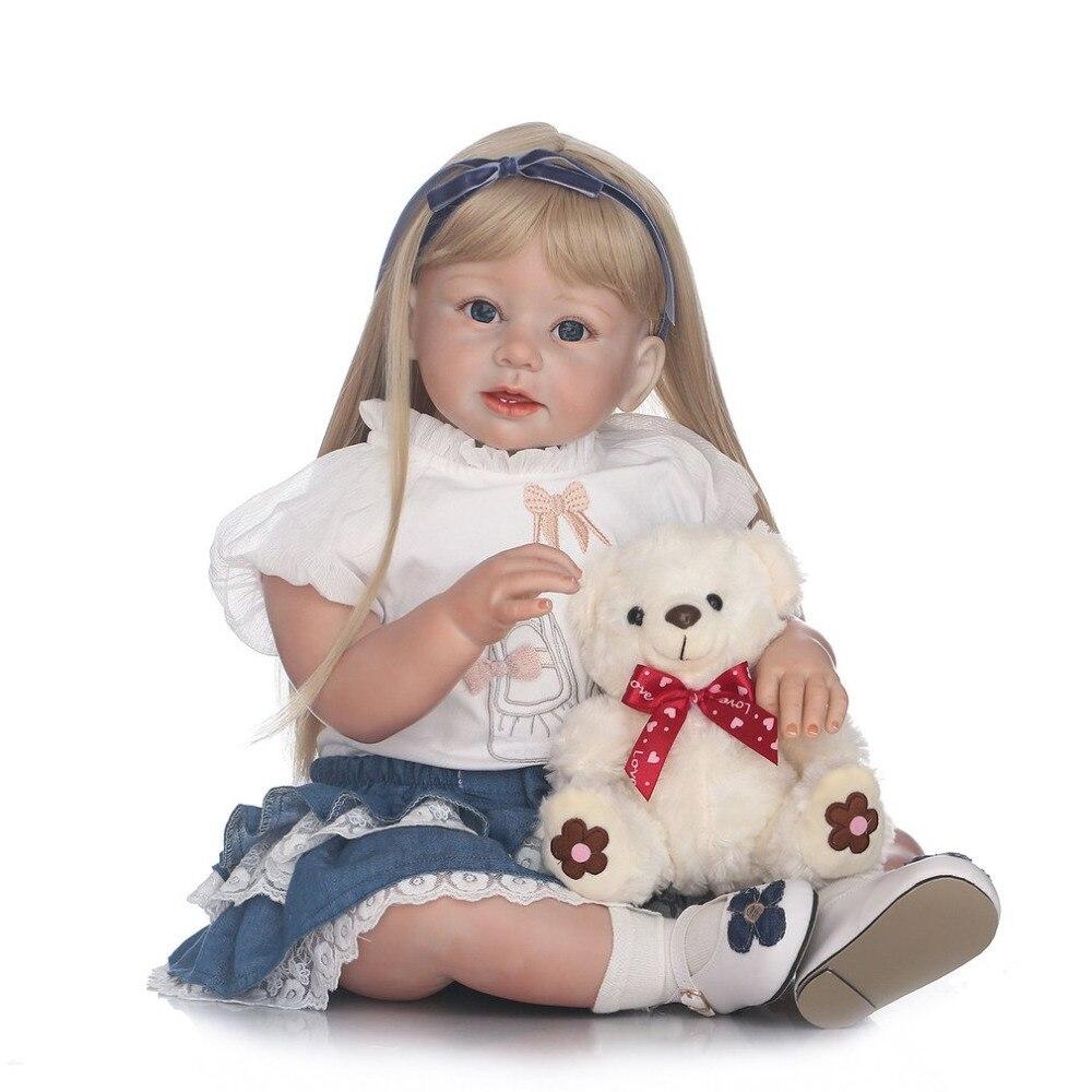 NPK 28 Inch Full Body Silicone Rapunzel Reborn Baby Doll Toys Newborn Dolls Girls Babies Toddler Dolls Birthday Gift Bathe Toy
