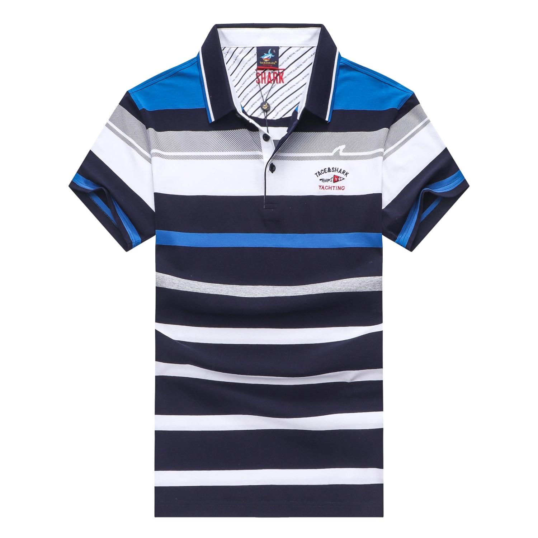Business striped polo shirt men cotton breathable lapel 2018 Summer fashion brand Tace & Shark men polo shirt short sleeve