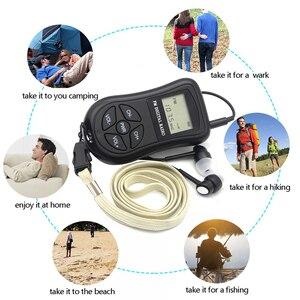 Image 3 - LCD תצוגה אישי מיני דיגיטלי FM רדיו עם אוזניות שרוך נייד דיגיטלי FM רדיו רציף לשמש עבור 50  60 שעות