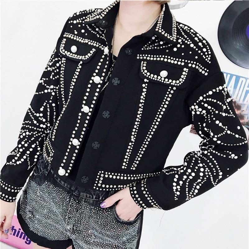 Longues Diamants Poitrine Manteau Streetwear Unique Automne Perles Manches 2018 Denim Femelle Mode À Femmes Black Jacket Twotwinstyle Veste Lâche De xvPY8cZ