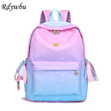 Rdywbu Crown Embroidery Backpack Girl Ribbon Bow Schoolbag Ombre Colorful Big School Bag Gradient Star Moon Printed Mochila B178