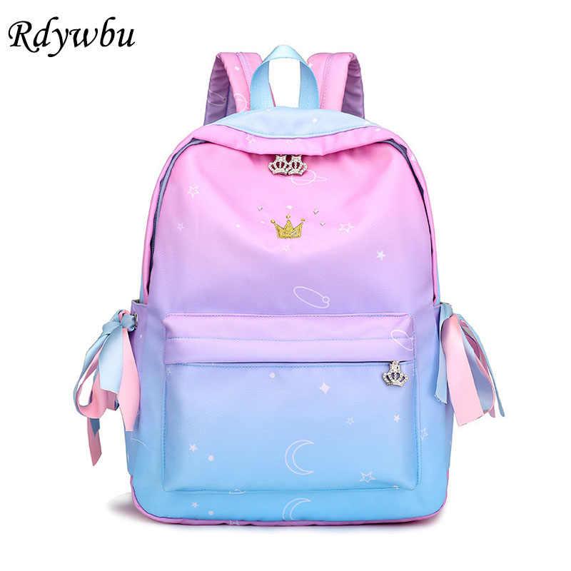 6d07f7424543 Rdywbu корона вышивка рюкзак девушка ленты лук школьный Ombre красочные  большой мешок школы градиент Звезда Луна