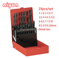 19pcs 1 10mm HSS Twist Drill Bit Set DIN 338 Hole Boring Bits Drilling Tool Kit