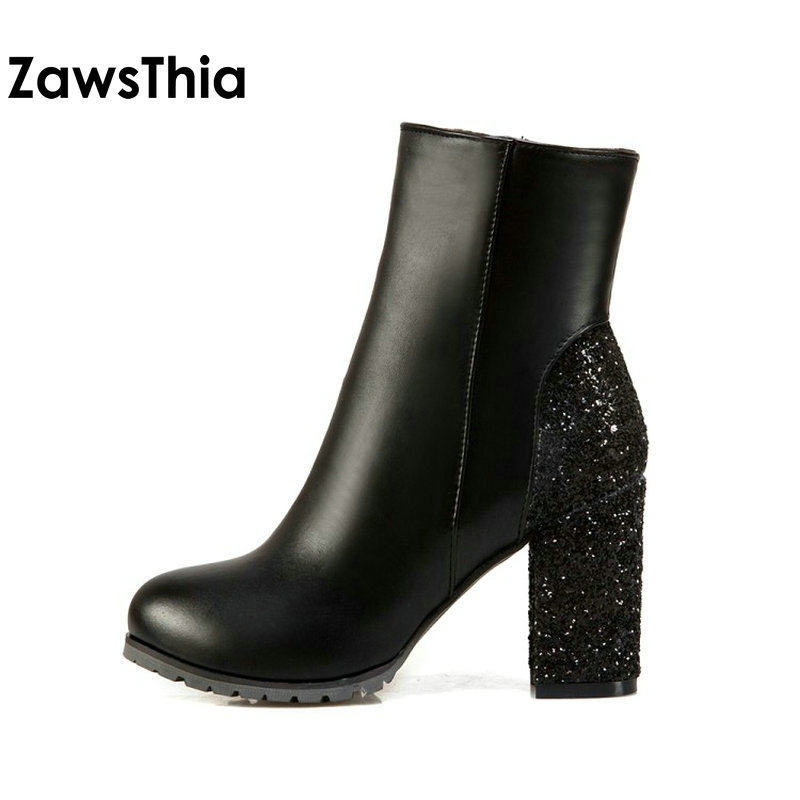 24972d094587 ZawsThia fashion winter golden silver red bling glitter boots block high  heels woman ankle boots warm plush women shoes size 48-in Ankle Boots from  Shoes on ...