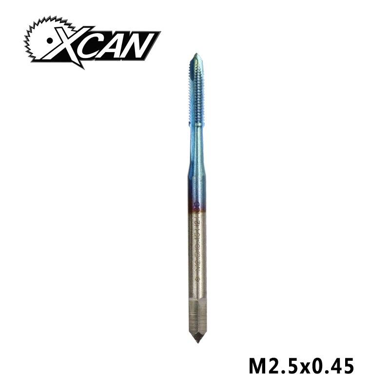 XCAN 1 шт. M2-M6 нано с синим покрытием резьбовой кран высокоскоростной стальной винт кран прямой хвостовик кран сверло - Цвет: M2.5x0.45