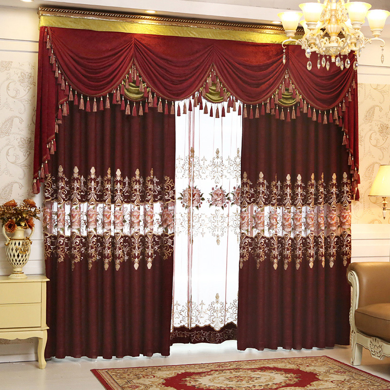 Luxury Red Color Curtain Sheers Valances Full Set For Living Room Window  Decoration Free Shipping(