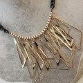 Frete grátis! atacado de Luxo banhado a ouro oco preto irregular geométrica colar declaração Imitação diomands colarinho luxo