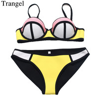 2015 Fashion Women Neon Neoprene Swimwear Sexy Push Up Neoprene Bikini Set Patchwork Mesh Swimsuit Biquini