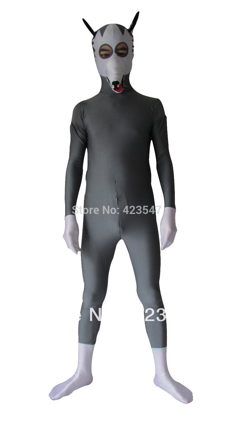 Halloween cospaly gray and white dog playing zentai lycra costume party