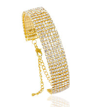 F&U New Hand-woven Welding Chain Crystal Charm Bracelet jewelry Color Gold Silver Copper Rhinestone chain Bracelets women#B392