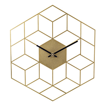 35 X 40cm Creative Iron Cube Wall Clock Timer Watch Battery Operated Silent Wall Clocks Home Decor Decoration - Scale Golden 9