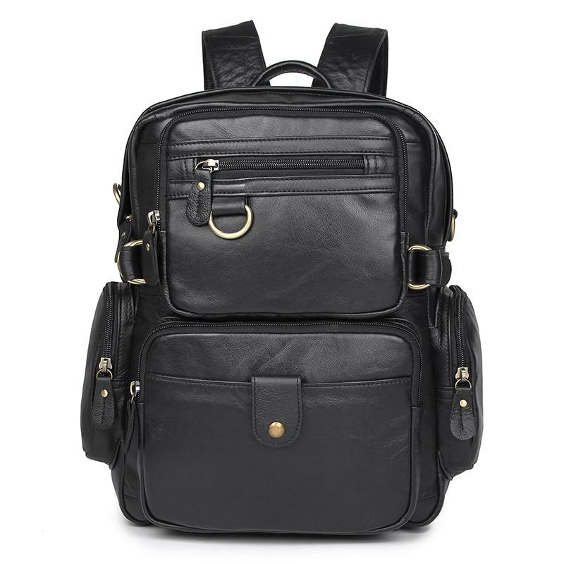 Men's Bags Obliging Nesitu High Quality Vintage Brown Black Genuine Leather Women Mens Backpack Female Shoulder Bag Travel Bags M7042