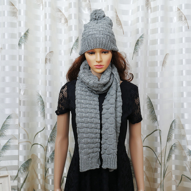 eb2aed47a95 1Set Women Scarf And Hat Set Fashion Warm Woolen Knit Hood Winter Scarf And  Cap Hats For Women Suit Bufandas