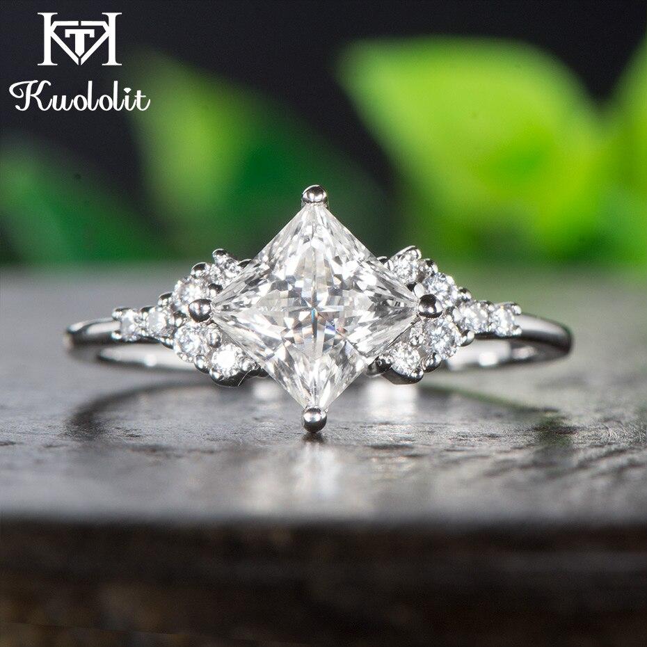 Kuololit 14K White Gold Moissanite Rings for Women Lab Grown Square Cut Gorgeous Diamond Wedding Engagement