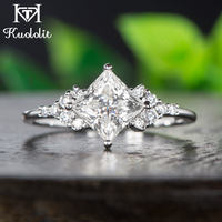 Kuololit 14K White Gold Moissanite Rings for Women Lab Grown Square Cut Gorgeous Diamond Wedding Engagement Fine Jewelry