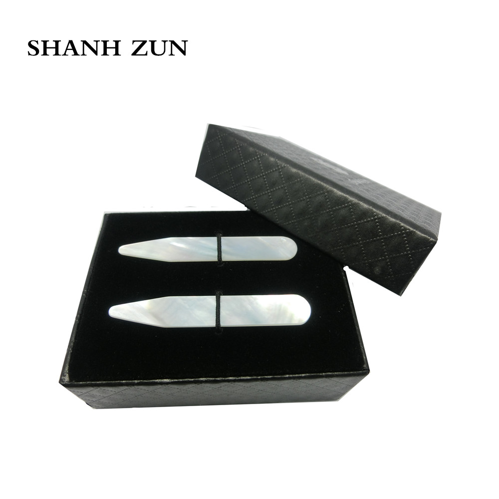 "SHANH ZUN Classic High Polish Natural Shell Collar Stays for Men's Dress Shirt 2.37"""