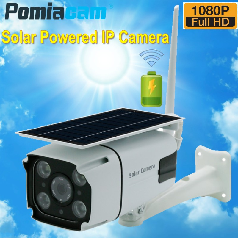 2019 Solar Panel Continuous Rechargeable Battery Powered Camera 1080P Full HD Outdoor Indoor Security WiFi IP