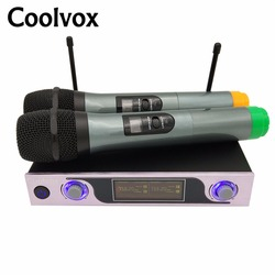 Coolvox VHF wireless Microphone  karaoke System  Mic System with 2 Handheld microphone Transmitter KTV dynamic Mike CV-219
