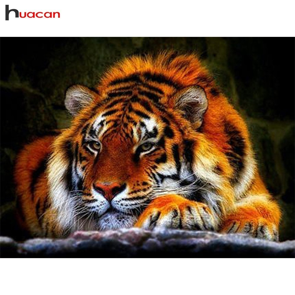 HUACAN 5D DIY Diamond Painting Tiger Full Square/Round Drill Diamond Embroidery Animals Mosaic Painting Decoration Home