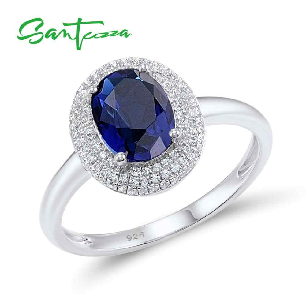SANTUZZA Silver Rings for Women Engagement Wedding Ring Oval Blue Cubic Zirconia Rings Pure 925 Sterling Silver Fashion Jewelry