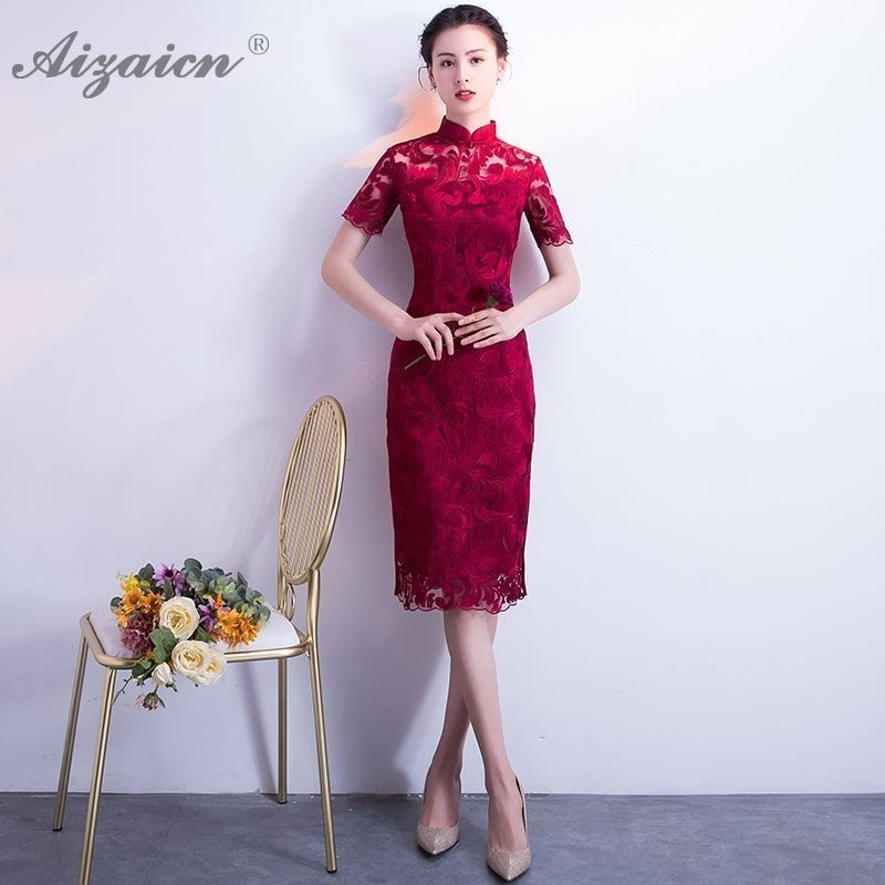 2019 Red Sexy Lace Cheongsam Modern Long Dresses Qi Pao Women Chinese Wedding Dress Qipao Promotion Oriental Style Vintage Gown