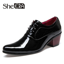 New 2015 Top Patent Leather Pointed Oxfords Men Height Increasing Classic Business Shoes Men's Dress Shoes(China)