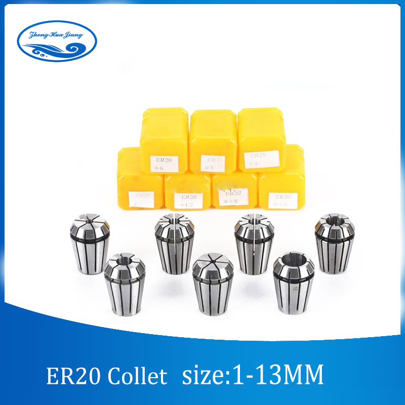13pcs ER20 Collet Chuck 1mm to 13mm Beating 0.1MM Precision for CNC milling lathe tool and spindle motor cnbtr er16a 6mm motor shaft collet chuck holder tool cnc lathe milling part