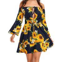Sunflower Print Off-the-shoulder Long Sleeve Mini Dress