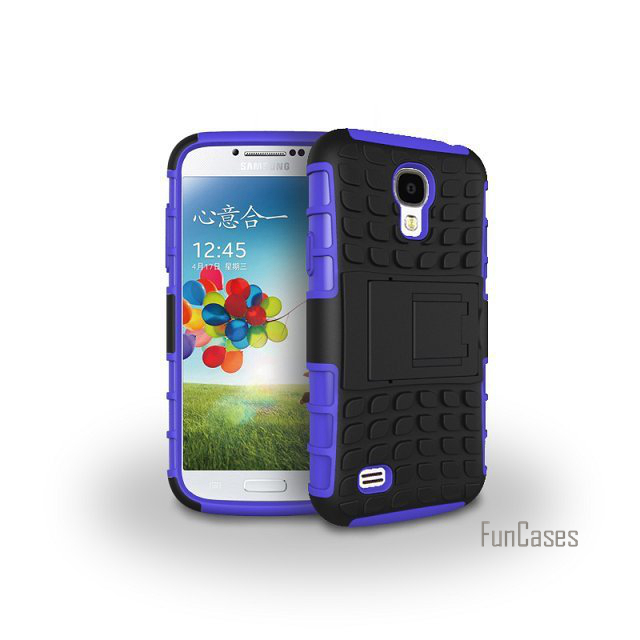 For Samsung Galaxy S4 I9500 Case Hybrid kickstand Rugger Rubber TPU+Hard PC 2 In 1 Shockproof With Stand Function Cover Cases