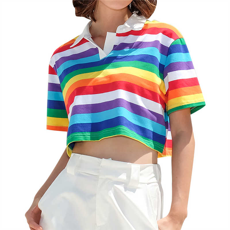 Blouses & Shirts Ingenious Fashion Womens Lapel Short Sleeve Shirt Female Summer Casual Rainbow Stripe Print Short Top Ladies Large Size Shirt Camisetas