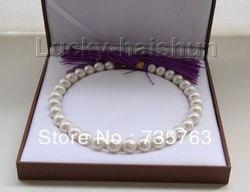 Горячее предложение 00327 натуральный 17 12-14 мм круглый белый Южное море жемчужное ожерелье свернутое золото застежка