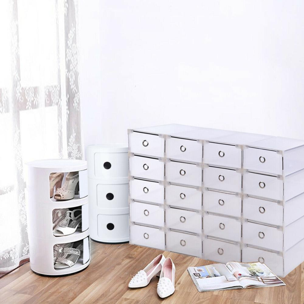 Clear, Organizer, Shoe, Boxes, Stackable, Plastic