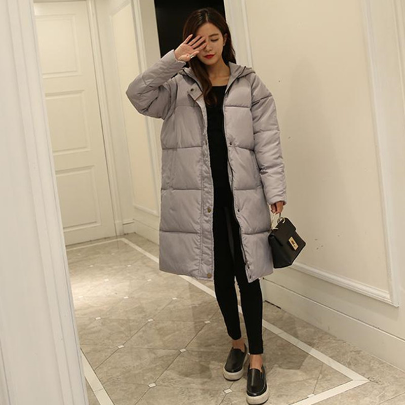Cotton women in the long section of students large yards Korean bread coat 2016 knees thicker