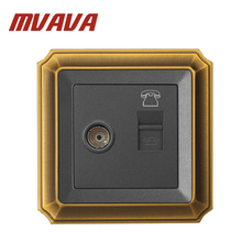 MVAVA Electric TV/Television Aerial + TEL/Telphone RJ11 Socket Wall Mount Coaxial Outlet,Luxury Decorative Bronzed panel