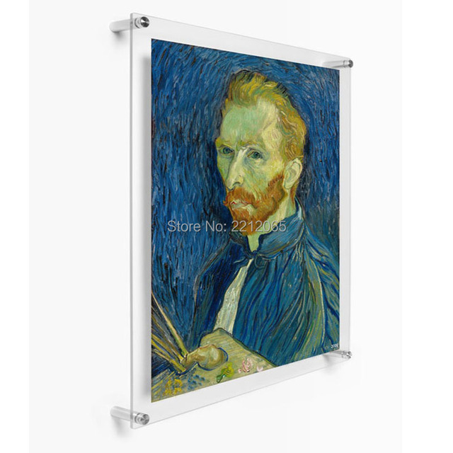 """(Pack/5units) Custom 24x36"""" Wall Mounted Acrylic Lucite Floating Frame, Plexiglass Gallery Frames for Artwork and Posters"""