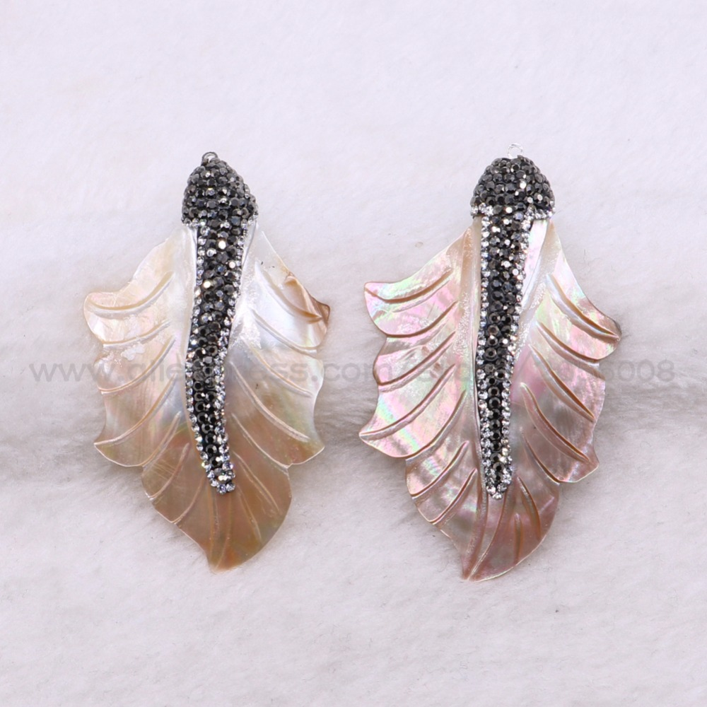 Natural shell pendant leaf shape pendant Fashion jewelry Pendant pave rhinestone Jewelry Charms gems Gift For
