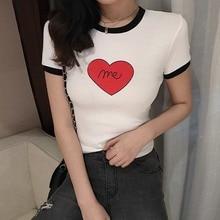Women Cotton Elastic Basic T-shirts High Quality Heart Print Color Block Round Neck T-Shirt Female Casual Short Sleeve Tshirt недорого