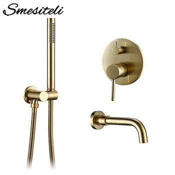 Solid Brass Gold Shower Set Headshower Mixer Swivel Spout Bath Bath Faucet Wall-Mount Shower Arm Combo Set for Diverter Mixer