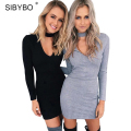 Autumn Winter Women Knitting Dress 2016 Long Sleeve Sexy Short Pencil  Knitted Dress Slim Bodycon Party Vestidos Sweater Dresses