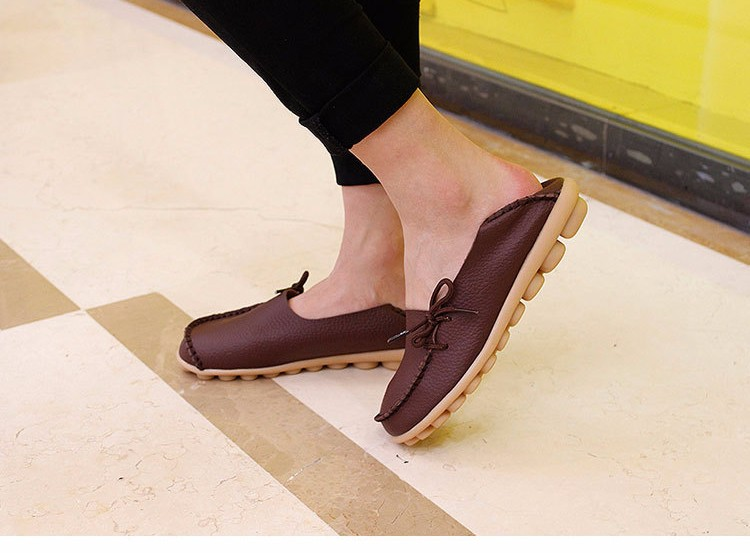 2016 New Real Leather Woman Flats Moccasins Mother Loafers Lacing Female Driving Casual Shoes In 16 Colors Size 34-44 ST179 (22)