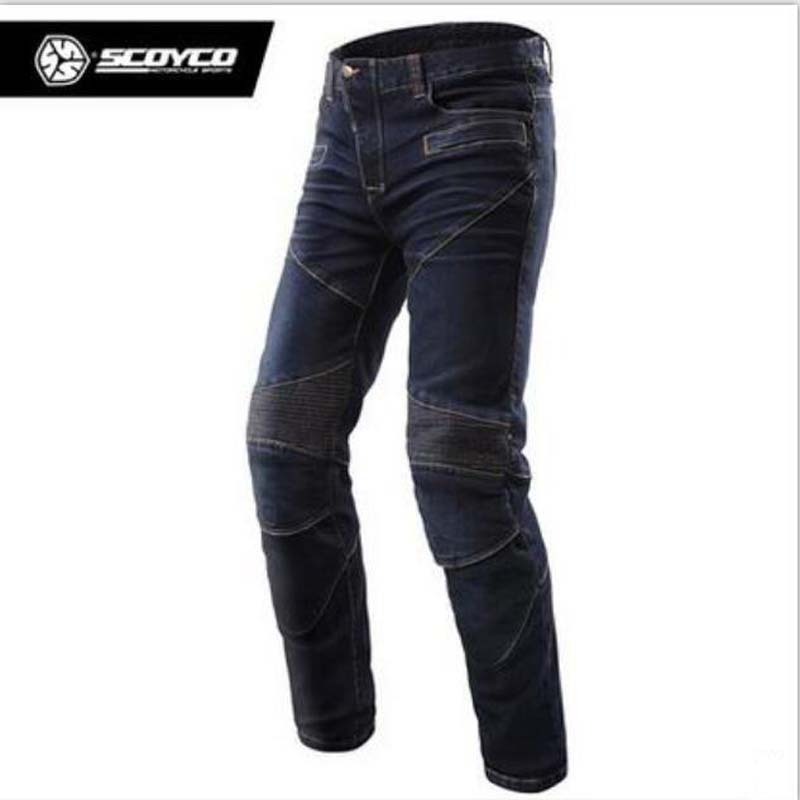 SCOYCO P043 motorcycle cycling Leisure Elasticity jeans trousers Men Moto Rider pants with CE kneepads Motorbike racing pants benkia men motorcycle racing denim pants moto jeans motorbike racing pants pantalon moto motocross clothing