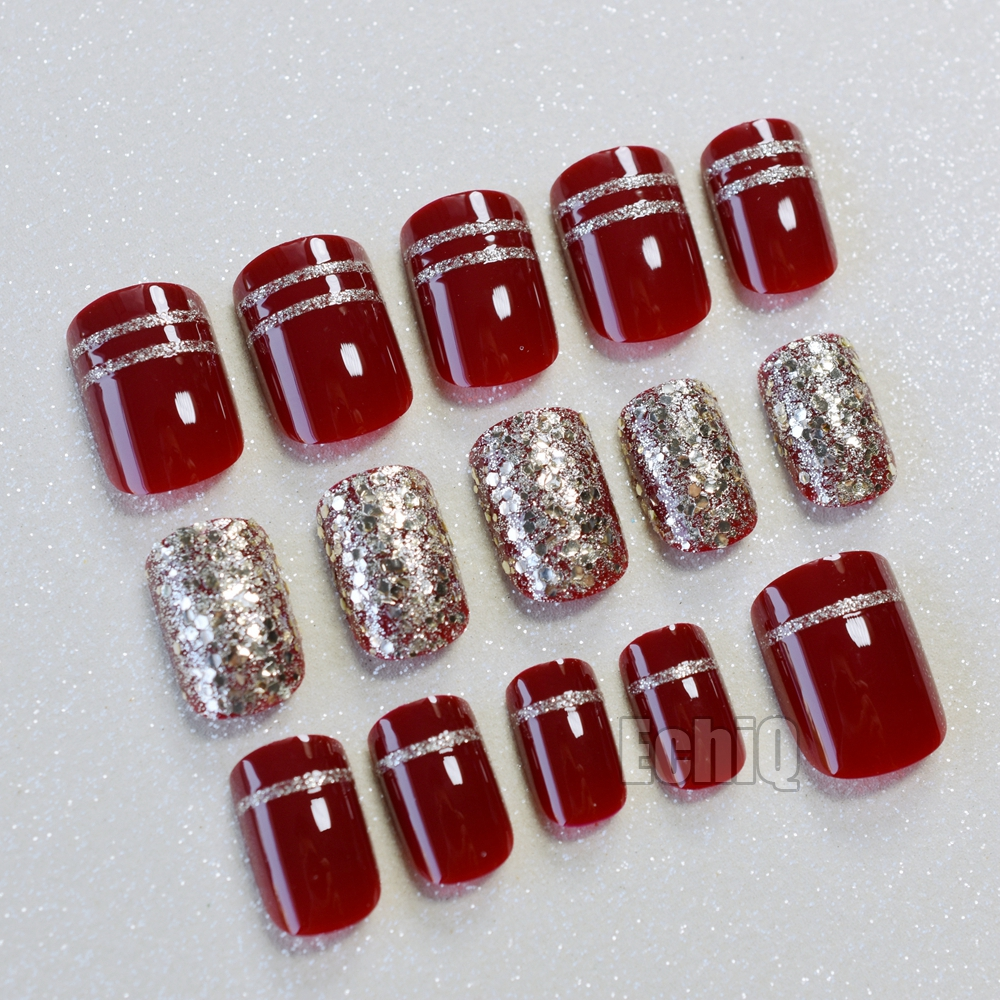 Wine Red False Nail with Champagne Glitter Sequins Short Fake Nails ...