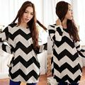 2017 New Fashion New Women Black White Long Sleeve Round Neck Loose T-Shirt Stripe Women's Tees