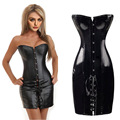S-6XL Plus Size Sexy Lingerie Women Black Faux Leather and Lace Burlesque mini Corset Dress Gothic Bustier