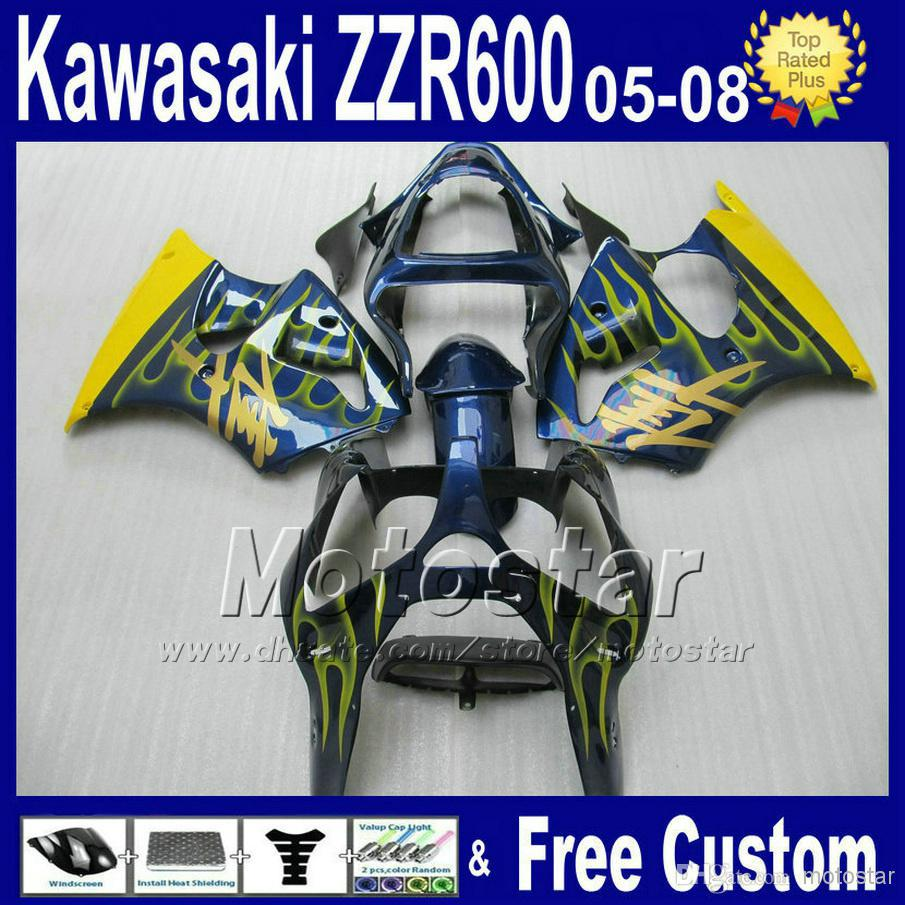 7 gifts ABS motorcycle fairings for kawasaki 2005 2006 2007 2008 yellow flame in blue plastic fairing kit ZZR600 ZZR 600 05 06 0 aftermarket free shipping motorcycle parts eliminator tidy tail for 2006 2007 2008 fz6 fazer 2007 2008b lack