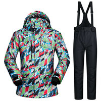 Men Skiing Jacket Windproof Waterproof Snow Thicken Thermal Snowboarding Suit Breathable Jacket Warmth Pants Outdoor Ski Suit