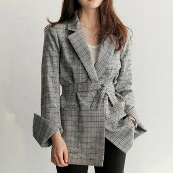 新 2017 秋の女性グレーのチェック柄オフィスの女性のブレザーファッション弓サッシ割スリーブジャケットエレガントなワークブレザー Feminino H8