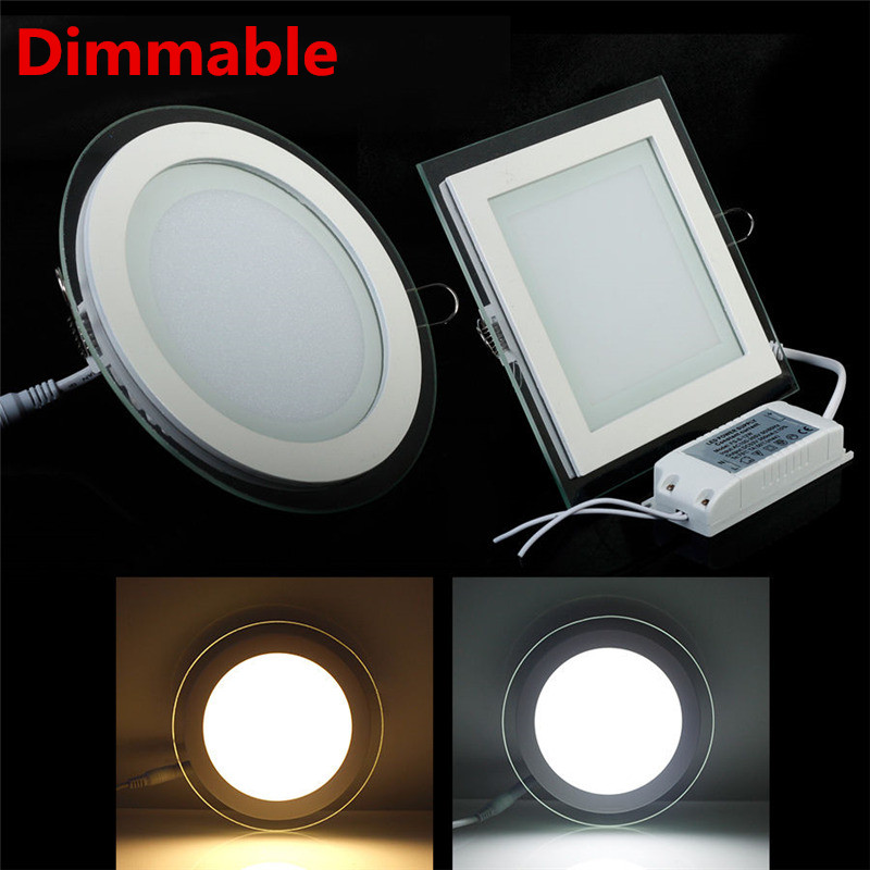 Dimmable 6W 12W 18W LED Panel Downlight Glass Recessed Ceiling Spot Light SMD5630 Warm Cold White Led Panels AC85-265V